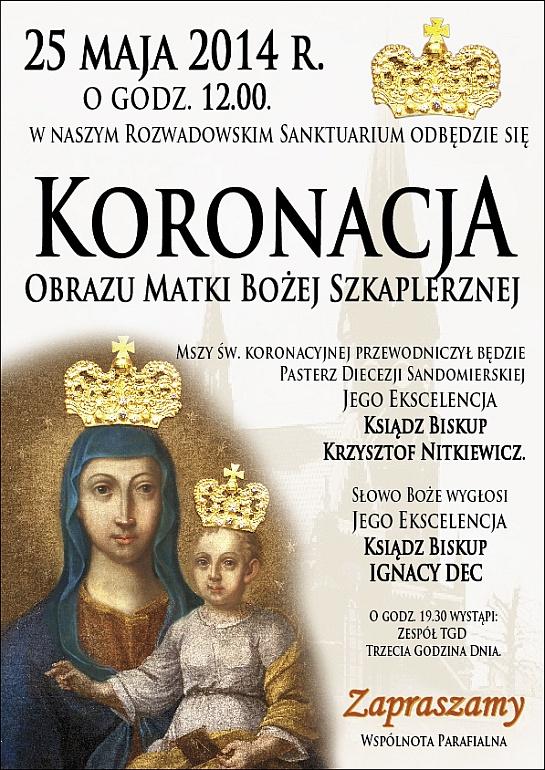 Plakat informujący o koronacji obrazu Matki Bożej Szkaplerznej w Rozwadowie 25 maja 2014