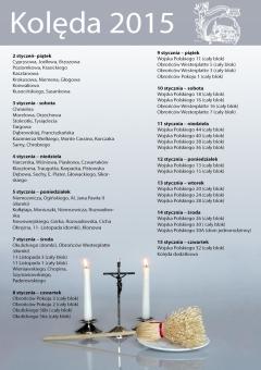 Plan kolędy w parafii Zwiastowania Pańskiego w Rozwadowie w 2015